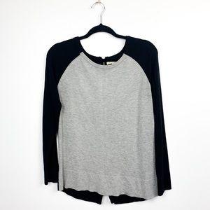 Joan Vass Black & Grey Soft Long Sleeve Sweater With Back Zippers